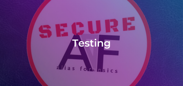 the word testing on a photo background with the alias logo