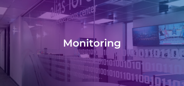 the word monitoring on a background of the alias cyber security operations center