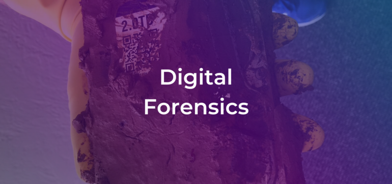 the words digital forensics over a photo of a hard drive data recovery